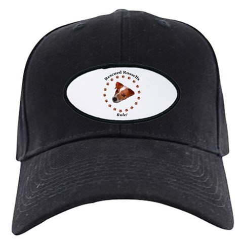 'Rescued Russells Rule'  Pets Black Cap by CafePress