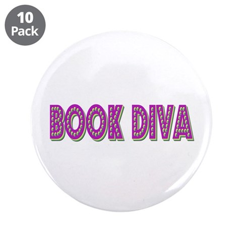 Book Diva Purple  Hobbies 3.5 Button 10 pack by CafePress