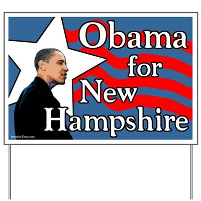 Support Barack Obama for President in the New Hampshire presidential primary with this sign to put out in your yard, to encourage others to vote for Obama for President.