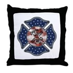 "Firefighter USA Throw Pillow.  Product Information:  Add stylish fun to any room with our roomy Throw Pillow. It measures a sprawling 18"" X 18"" with an 11"" X 11"" image area so you can lounge in comfort. It's made of ultra-soft brushed twill with a sturdy canvas image area. Ships with pillow insert. Removable zippered cover for easy laundering."