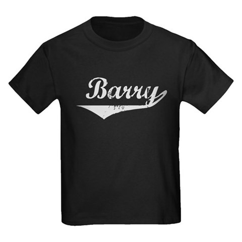 Barry Vintage Silver Vintage Kids Dark T-Shirt by CafePress