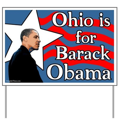 A lawn sign lets all your neighbors where you stand - for Barack Obama in the Ohio Democratic presidential primary election of 2008. Obama has the progressive vision Ohio needs to turn around in 2008.