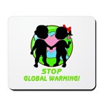 """Stop Global Warming"" Mousepad helps get the planet earth message out to the computer world!  Featuring mouse pad covered in smooth cloth and rubber backing that will be an eco-friendly companion on your desk!"