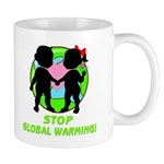 "Stop Global Warming gift mugs for coffee, tea or hot cocoa. Don't drink from styrofoam or un-recycled paper products, use our coffee mugs or travel mugs to ""help save the planet"" and stop global warming! Click to browse our eco-friendly designs and organic t-shirts..."
