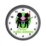 "Wall clocks with ""Stop Global Warming"" is part our eco-friendly gift and t-shirts collection."