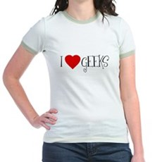 I Love [heart] Geeks Jr Ringer T-Shirt