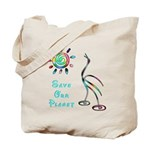 Save Our Planet Tote Bags with unique bird and sun design.