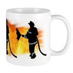 Firefighter coffee mugs with firefighting flames make your break taste better!