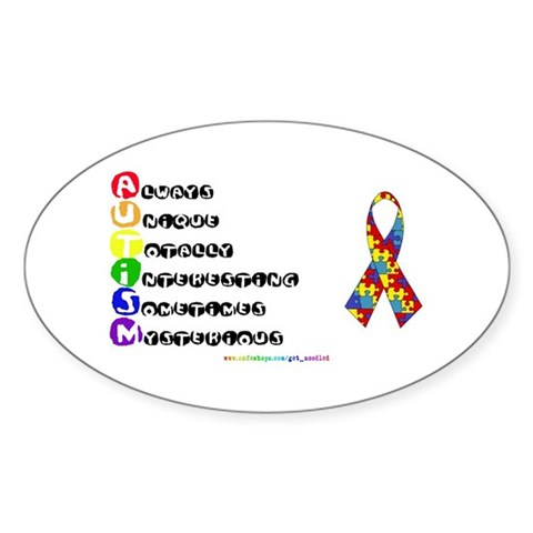 Promote Autism Awareness Oval Stickers
