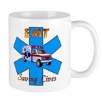 "Mugs with ""EMT Saving Lives"" are a perfect personalized gift for coffee, cocoa or your favorite beverage!"