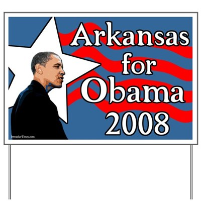 Place your support for the presidential campaign of Barack Obama in 2008 out in your lawn with this stylish sign designed for the Arkansas presidential primary '08.