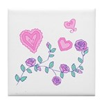 Pink Rose Hearts Tile Coaster