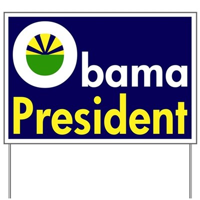Support Barack Obama for President of the United States again in 2012 with this Obama: President lawn sign, complete with green for the Earth and a rising sun for the dawn of hope. (Pro-Obama Lawn Sign)