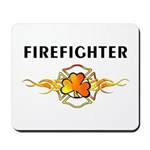 "Irish Fire Mousepad featuring flames, the word ""firefighter"" and a shamrock on fire."