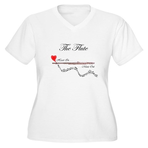 'The Flute'  Music Women's Plus Size V-Neck T-Shirt by CafePress