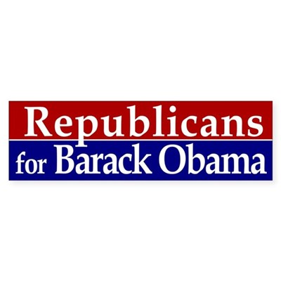 Republicans for Barack Obama sticker bumpersticker from the barack obama collection.  Bumper Sticker (3x10 inches)