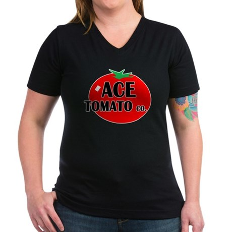 Ace Tomato Co Women's V-Neck Dark T-Shirt
