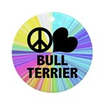 Peace Love Bull Terrier Ornament