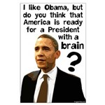 Obama the Prez w/ a Brain Large Poster