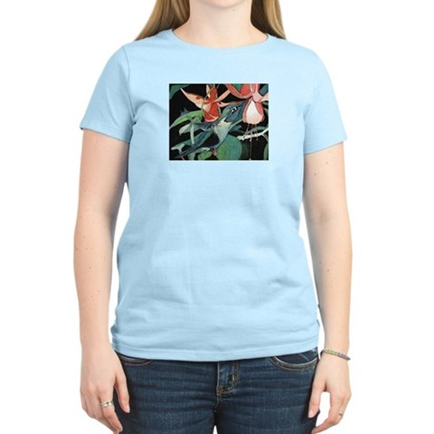Hummingbird Women's Pink T-Shirt Painting Women's Light T-Shirt by CafePress