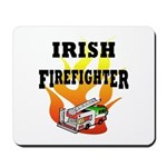 Irish Fire Fighter Mouse pad with flag of Ireland fire truck and flames o' fire!