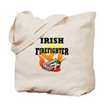 "Irish firefighter personalized gifts features tote bags with flames, irish flag color fire truck and the words ""Irish Firefighter"" available on apparel and gifts for the home."