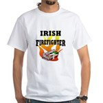 Irish Fire Fighter White T-Shirt shows off fire truck in green, red and white and flames for St Patricks Day!