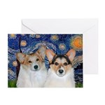 STARRY NIGHT& 2 Welsh Corgis