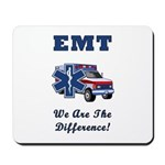 EMT's Make A Difference every day and gifts feature EMS star of life and an ambulance responding to an emergency.