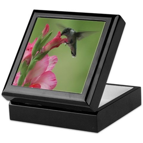 Hummingbird and Gladiolas  Bird Keepsake Box by CafePress