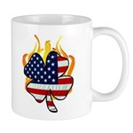 Irish Firefighter Mug featuring a shamrock with American flag design and flames on fire!