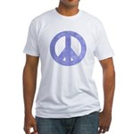 Blue Watercolor Peace Sign Fitted T-Shirt