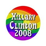 "Rainbow Hillary Clinton 3.5"" Button"