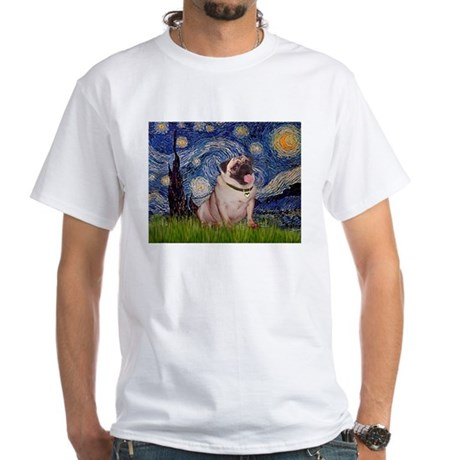 Starry Night & Pug Pair White T-Shirt