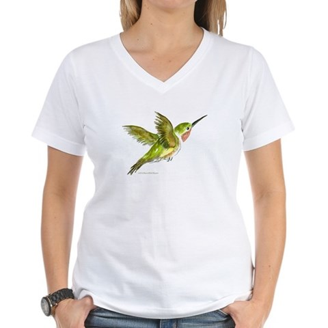 Hummingbird  Art Women's V-Neck T-Shirt by CafePress