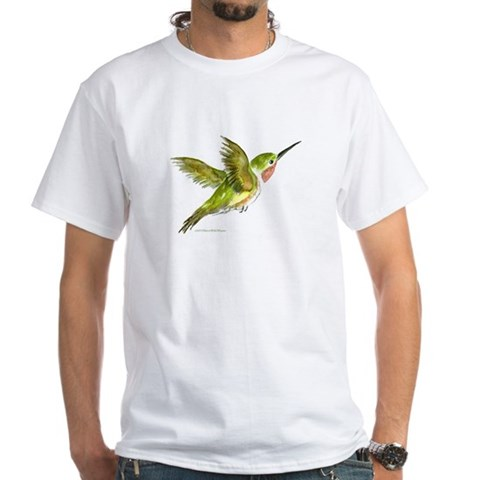 Hummingbird  Art White T-Shirt by CafePress