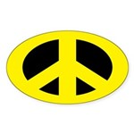 Yellow on Black Peace Sign Sticker