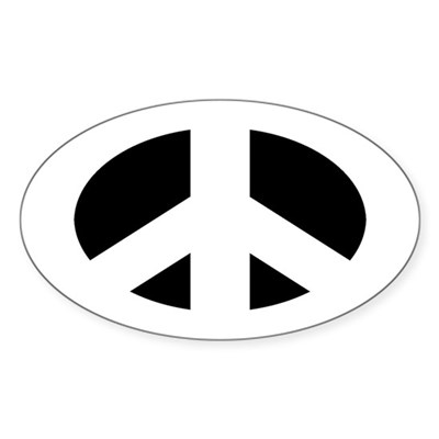 White Peace Sign (oval bumper sticker)