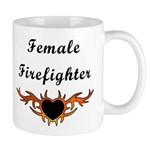 Female firefighter Flaming Tattoo Mug keeps our hot fire fighter's coffee steaming!
