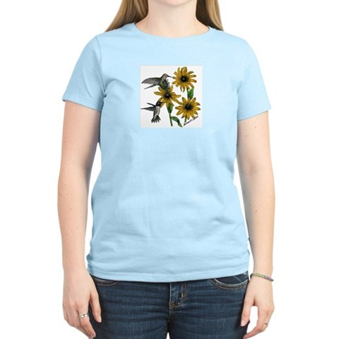 Hummingbird/Black-eyed Susan  Women's Pink T-Shirt Cancer Women's Light T-Shirt by CafePress