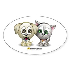 Puppy and Kitty Sticker (Oval)