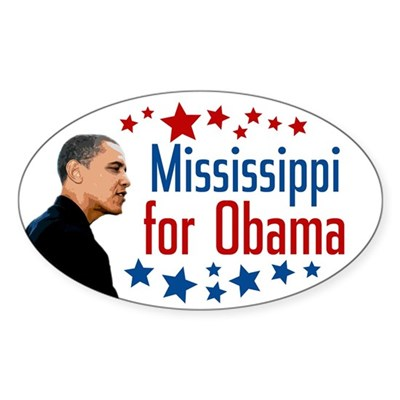 Mississippi for Obama Oval Bumper Sticker