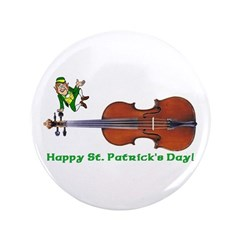 Leprechaun and Fiddle Button