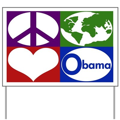 These are the four critical mandates of our time: Peace, Earth, Love, Obama. To accomplish the first three, reach for the fourth: Re-Elect President Barack Obama in 2012! (Four Iconic Tiles Design)