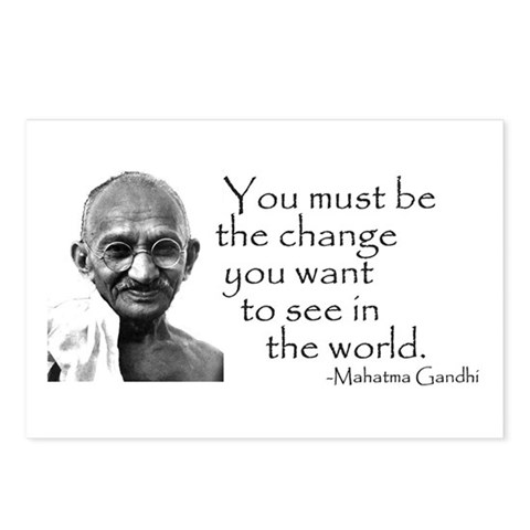 - Be the change... Peace Postcards Package of 8 by CafePress