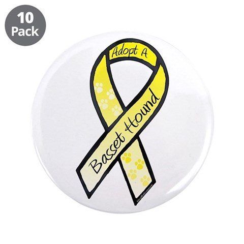 Basset RibbonC  Pets 3.5 Button 10 pack by CafePress
