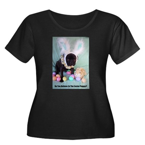 Product Image of Easter Puggy Women's Plus Size Scoop Neck Dark T-S