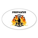 Firefighter Silhouette Sticker (Oval)