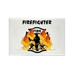 Firefighter Silhouette Rectangle Magnet (10 pack)