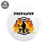 "Firefighter Silhouette 3.5"" Button (10 pack)"